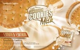 Milk sandwich cookies Royalty Free Stock Image