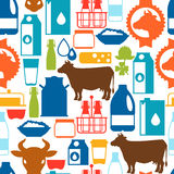 Milk seamless pattern with dairy products and Royalty Free Stock Photos