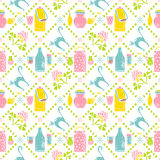 Milk seamless pattern. Jar and cat Stock Photography