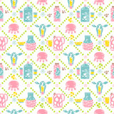 Milk seamless pattern.Jar and cow Stock Images