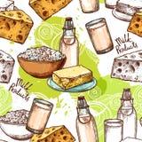 Milk Seamless Pattern Royalty Free Stock Photo