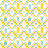 Milk seamless plaid pattern. Can and cow Royalty Free Stock Images