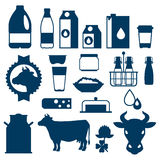Milk set of dairy products and objects Stock Photo