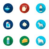 Milk set icons in flat style. Big collection of milk vector symbol stock illustration Stock Photography