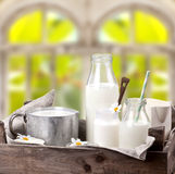 Milk in several glasses and bottles Stock Photo