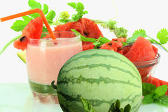Milk shake da melancia com melancia Imagem de Stock