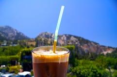 Milk-shake de café de glace en Grèce image libre de droits