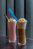 Milk shake do café e da morango Imagens de Stock Royalty Free