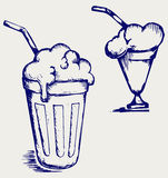 Milk shake. Doodle style. Vector Royalty Free Stock Photography