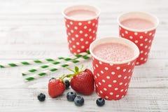 Milk shake with fresh berries Stock Image