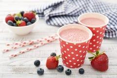 Milk shake with fresh berries Stock Photography