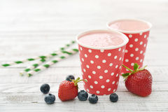 Milk shake with fresh berries Stock Photos