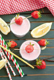 Milk shake with fresh strawberries Stock Image