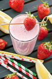 Milk shake with fresh strawberries Royalty Free Stock Photo