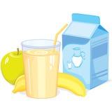 Milk shake with fruit stock illustration
