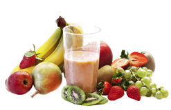 Milk shake with fruits selection Stock Images