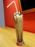 Milk shake and ice cream. At restaurant, in glass vase stock image