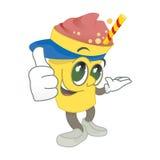 Milk-Shake Mascot. Strawberry Milk-shake Mascot smiling and giving positive stance Royalty Free Stock Photos