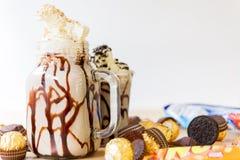 Milk shake para a sobremesa imagens de stock royalty free