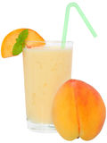 Milk shake from peach yogurt Royalty Free Stock Photo