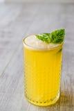 Milk shake persa do açafrão com folhas da manjericão Fotos de Stock Royalty Free