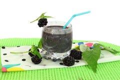 Milk shake preto da baga do fruto Imagens de Stock