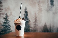 Free Milk Shake With Cookie Close Up Stock Photo - 165958100
