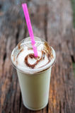 Milk shake on wood table Royalty Free Stock Photography