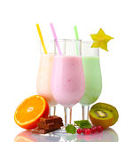 Milk shakes with fruits Royalty Free Stock Image