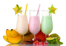Milk shakes with fruits Stock Photography