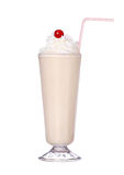 Milk shakes vanilla flavor with cherry and whipped cream Royalty Free Stock Image