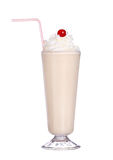 Milk shakes vanilla flavor with cherry and whipped cream Royalty Free Stock Images