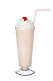 Milk shakes vanilla flavor with cherry and whipped cream Stock Photo