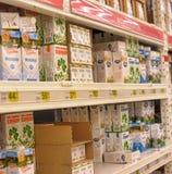 Milk on the shelves Stock Photo