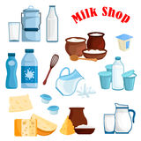 Milk shop and dairy products vector isolated icons Stock Photography