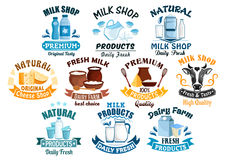 Milk shop and natural dairy products vector icons Royalty Free Stock Photography
