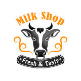 Milk Shop vector emblem with farm cow Stock Photo