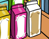 Milk or soft drink carton packs on the shelf Royalty Free Stock Photo