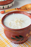Milk soup with noodles in ceramic bowl Royalty Free Stock Image