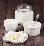 Milk, sour cream and cottage cheese Royalty Free Stock Images