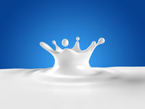 Milk Splash. Beautiful milk splash isolated on blue background Royalty Free Stock Photos