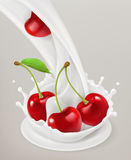 Milk splash and cherry. 3d vector object. Natural dairy products Stock Photo