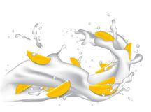 Milk splash 3d illustration with slices of mango, peach, apricot. Nectarine, apple.  Cream pouring wave yogurt packaging template. Realistic organic healthy Stock Photos