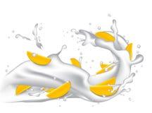 Milk splash 3d illustration with slices of mango, peach, apricot Stock Photos