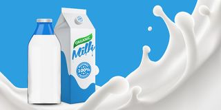 Milk splash 3d vector backgrond illustration. Vector realistic illustration for your design needs Royalty Free Stock Photo