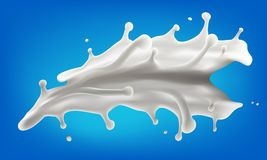 Milk splash 3d vector illustration. Vector realistic illustration for your design needs Royalty Free Stock Image