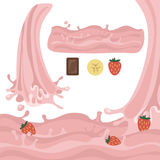 Milk splash design elements vector illustration. Stylized cartoon isolated on a white background, with the flow of waves and pour strawberry pink Stock Photos
