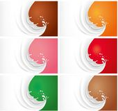 Milk splash on different color backgrounds Royalty Free Stock Photography