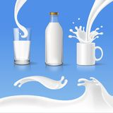 Milk splash glass, bottle and pouring set. Realistic vector.  Royalty Free Stock Images