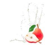 Milk splash pear Royalty Free Stock Photos